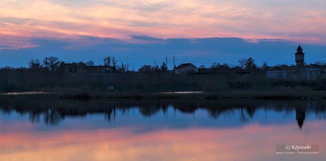 Naplemente az erőműi tónál Tatabánya